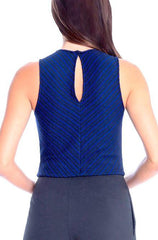 Royal Blue Top Knit Striped Crop Top - Cimiche
