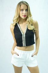 Lush - Sleeveless Beaded Black Crop Top Vest - Cimiche