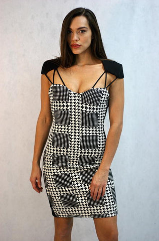 Mustard Seed  The Houndtooth Dress- Black & White - Cimiche