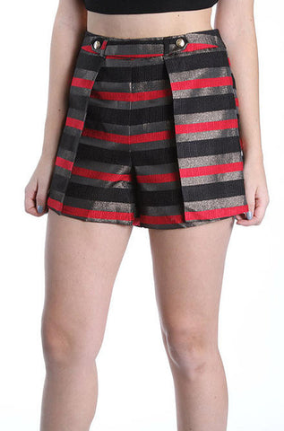 Mustard Seed - Women's Holiday Shorts in Black, Red and Gold Stripe - Cimiche