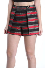 Mustard Seed Holiday Shorts in Black, Red and Gold Stripe