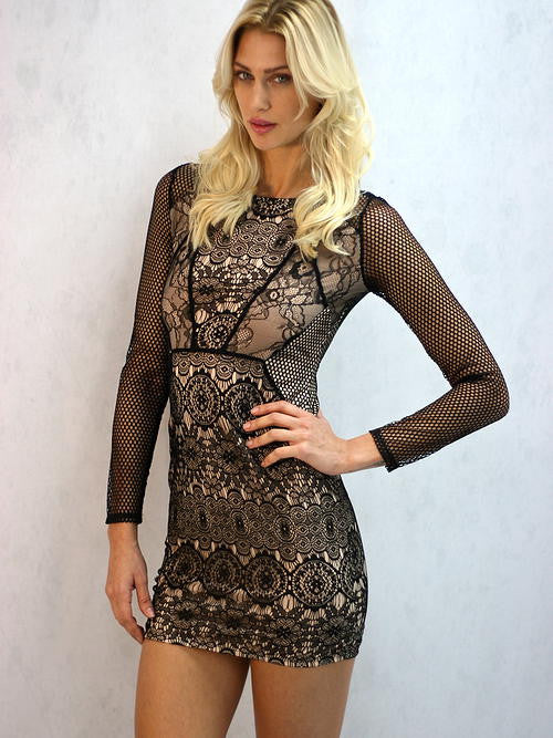 Mustard Seed - Women's Just in Lace Dress in Black and Tan - Cimiche