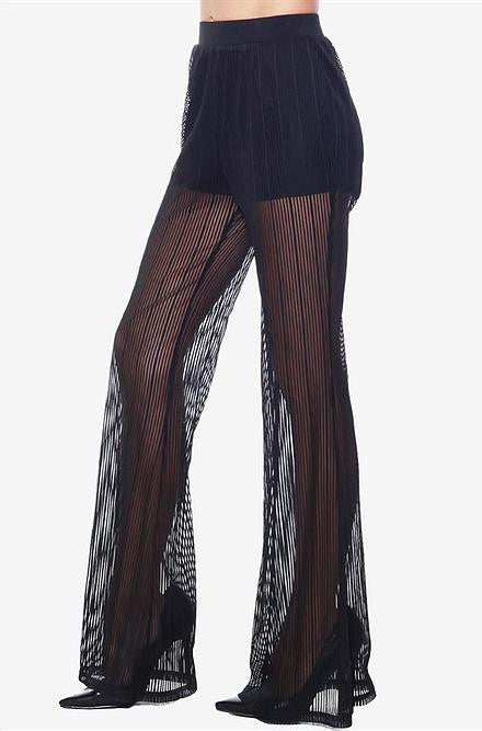 Rehab - Black Mesh Pants with Elastic Waistband - Cimiche