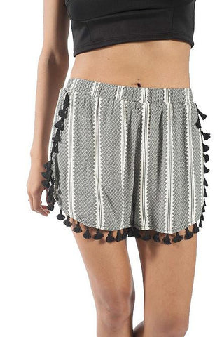 On Twelfth - Cream and Black Tassel Shorts - Cimiche
