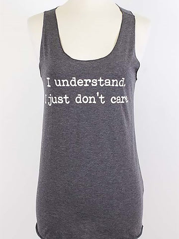 "Popular Basics - ""I Understand I Just Don't Care"" Charcoal Sleeveless Graphic T-Shirt - Cimiche"