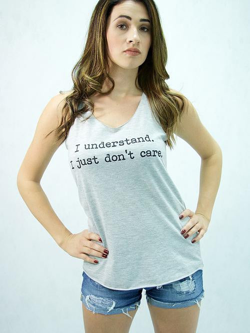 "Popular Basics - ""I Understand I Just Don't Care""  Lt. Grey Sleeveless Graphic T-Shirt - Cimiche"