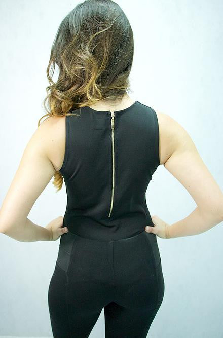 Black Bodysuit with Gold Metal Tie Up Front by Nude - Cimiche