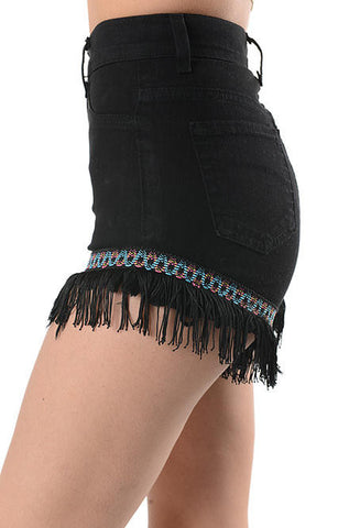 GJG Denim High Waist Black Jean Shorts with Tassels and Embroidery - Cimiche