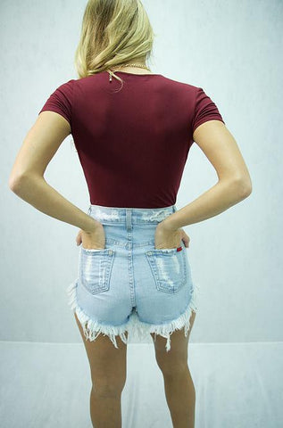Denim Jean Shorts Light Wash w/ Red Pockets