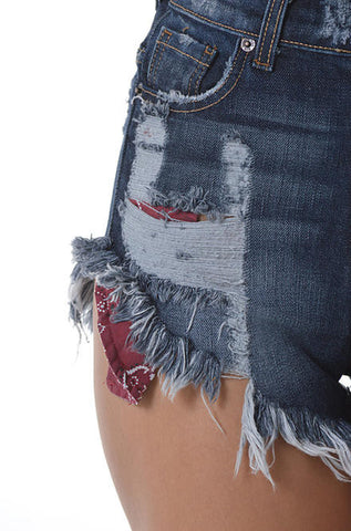 Denim Jean Shorts Dark Wash with Red Pockets