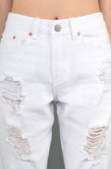Signature White Destroyed Boyfriend Jeans - Cimiche