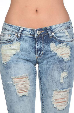 Signature 8 - Light Wash Distressed Skinny Jeans - Cimiche