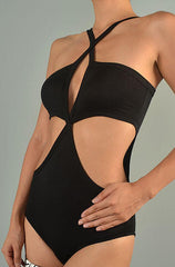 Better Be - Cut Out Cross Halter Tank Bodysuit in Black - Cimiche