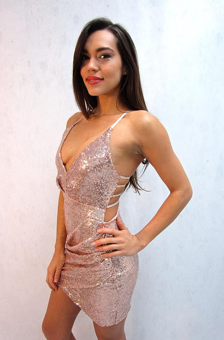 Reverse - Sequin Cut Out Dress in Rose Gold - Cimiche