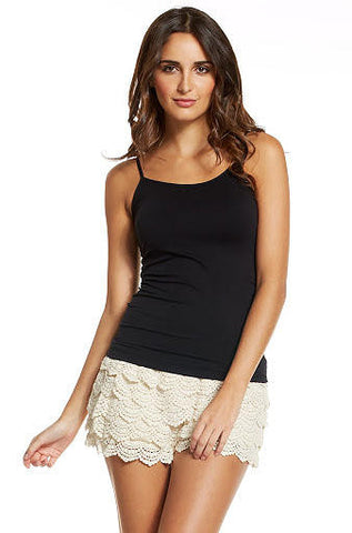Elan Beige Shorts with Lace, Black Waistband - Cimiche