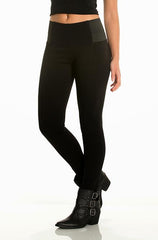 Elan - Straight Leg Black Jeggings with Elastic Side Hip - Cimiche