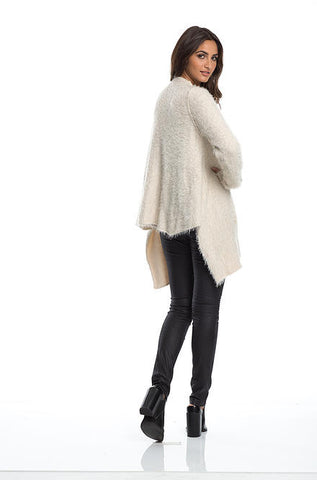 Elan Women's Hi Low Soft Fuzzy Cardigan Sweater in Cream - Cimiche