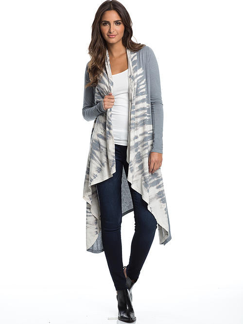 Elan Cardigan Style Sweater with Tie Dye Front Panels - Cimiche