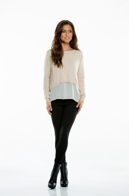 Elan Crewneck Sweater with Chiffon in Blush - Cimiche