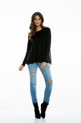 Elan Sweater with Pleated Chiffon Back in Black - Cimiche