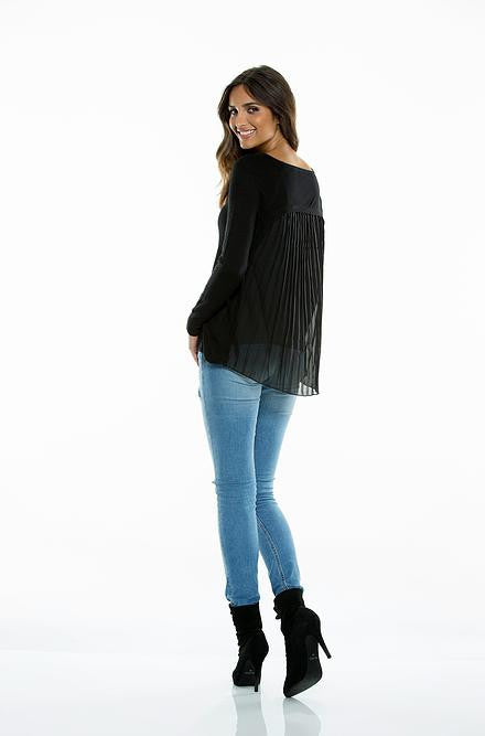 Elan Sweater with Pleated Chiffon Back in Black