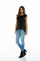 Elan Black Sleeveless Top with Side Zipper - Cimiche
