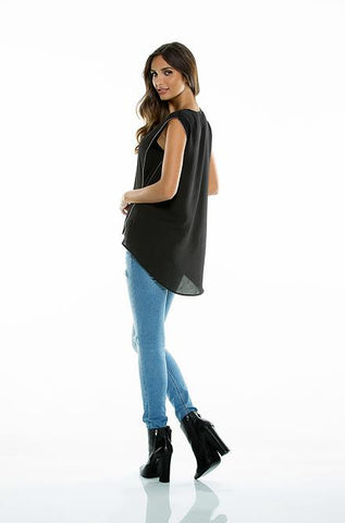 Elan - Black Sleeveless Top with Side Zipper - Cimiche