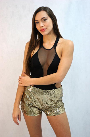 Wyldr Infinity Gold Sequin Shorts