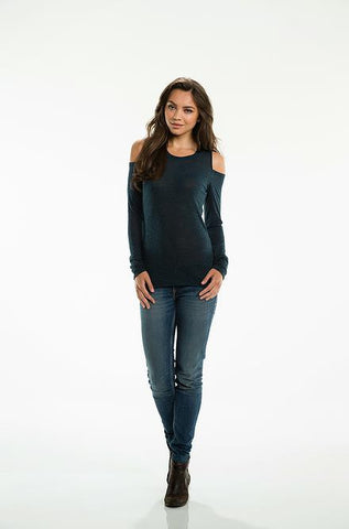 Elan - Long Sleeve Charcoal Grey Top - Cimiche