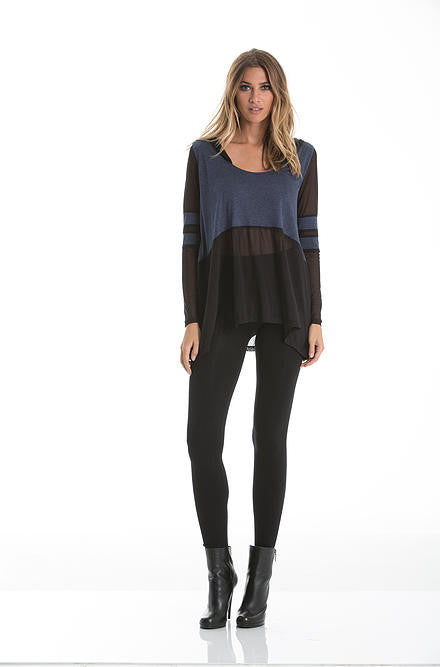 Elan - Navy and Black Top with Scoop Neck and Hoodie - Cimiche