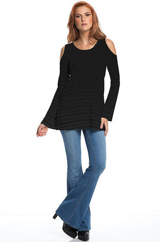 Elan - Striped Cold Shoulder Hoodie Top Black - Cimiche