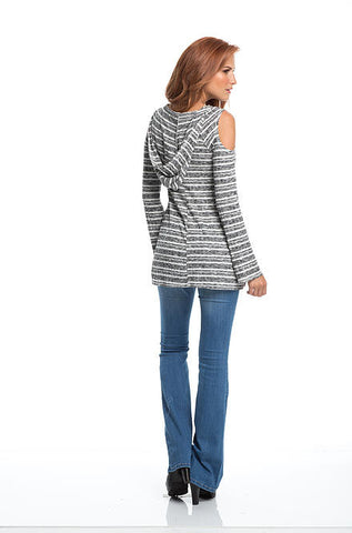 Elan - Gray White Striped Cold Shoulder Hoodie Top - Cimiche