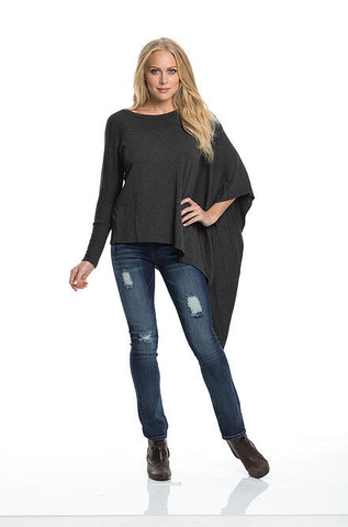 Elan - Asymmetrical 1 Sleeve Charcoal Top - Cimiche