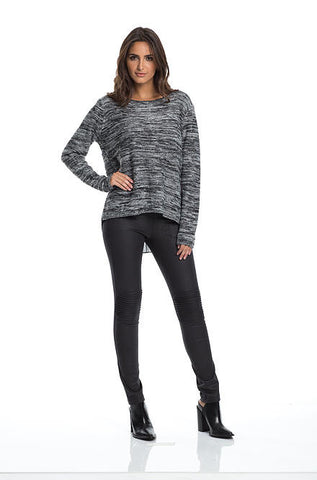 Elan Hi Low Sweater with Back Zipper & Chiffon Inset in Black - Cimiche