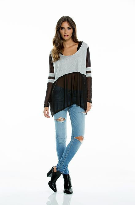 Elan Grey/Black Scoop Neck Hoodie Top - Cimiche