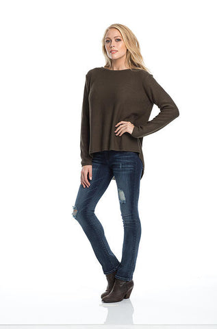 Elan Hi Low Sweater with Back Zipper & Chiffon Inset - Cimiche