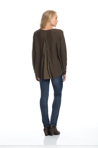 Elan Hi Low Sweater with Back Zipper & Chiffon Inset in Olive - Cimiche