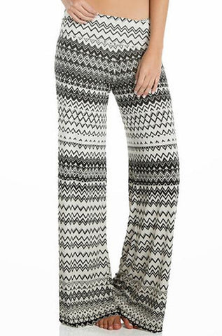 Elan - Palazzo Zig Zag Pattern Pants in Black & White - Cimiche