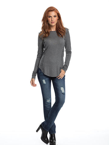Elan - Dark Grey Crew Neck Top - Cimiche