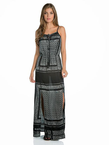 Elan Print Maxi Dress in Black and Natural - Cimiche