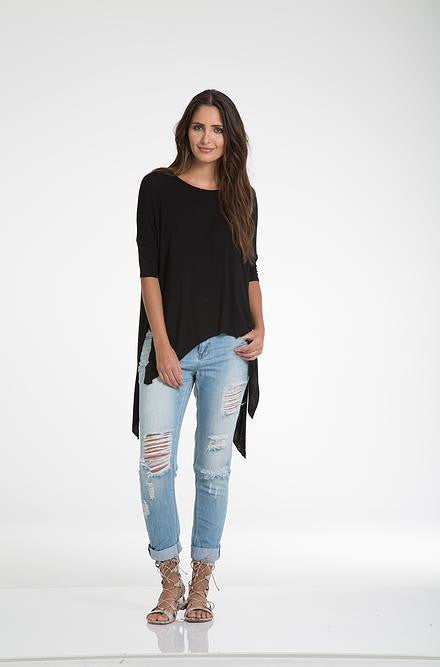 Elan - Short Sleeve Slit Side Shirt Black - Cimiche