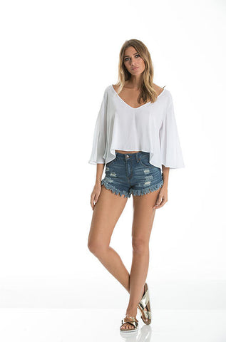 Elan - V-Neck Flounce Crop Top in White - Cimiche