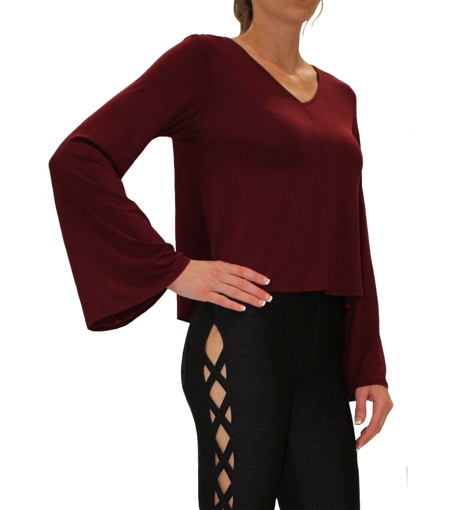 Promesa USA  Long Sleeve Top with Bell Sleeves in Burgundy