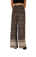 Raviya Black Pants with Floral Pattern Print