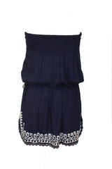 Raviya - Dark Blue Cover Up with White Embroidery - Cimiche