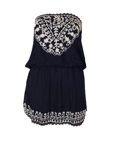 Raviya Embroidered Blue/White Cover Up - Cimiche