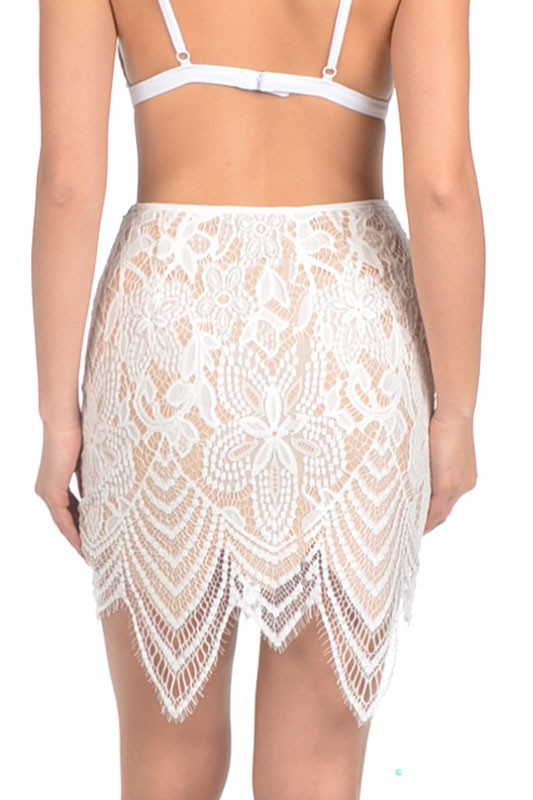 Signature 8 - Lace Overlay Off White Mini Skirt - Cimiche