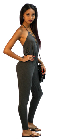 Solemio - Comfy Casual Jersey Knit Jumpsuit in Dark Grey - Cimiche