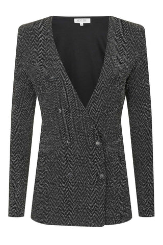 Wyldr - Warning Blazer in Black and Silver Metallic Fabric