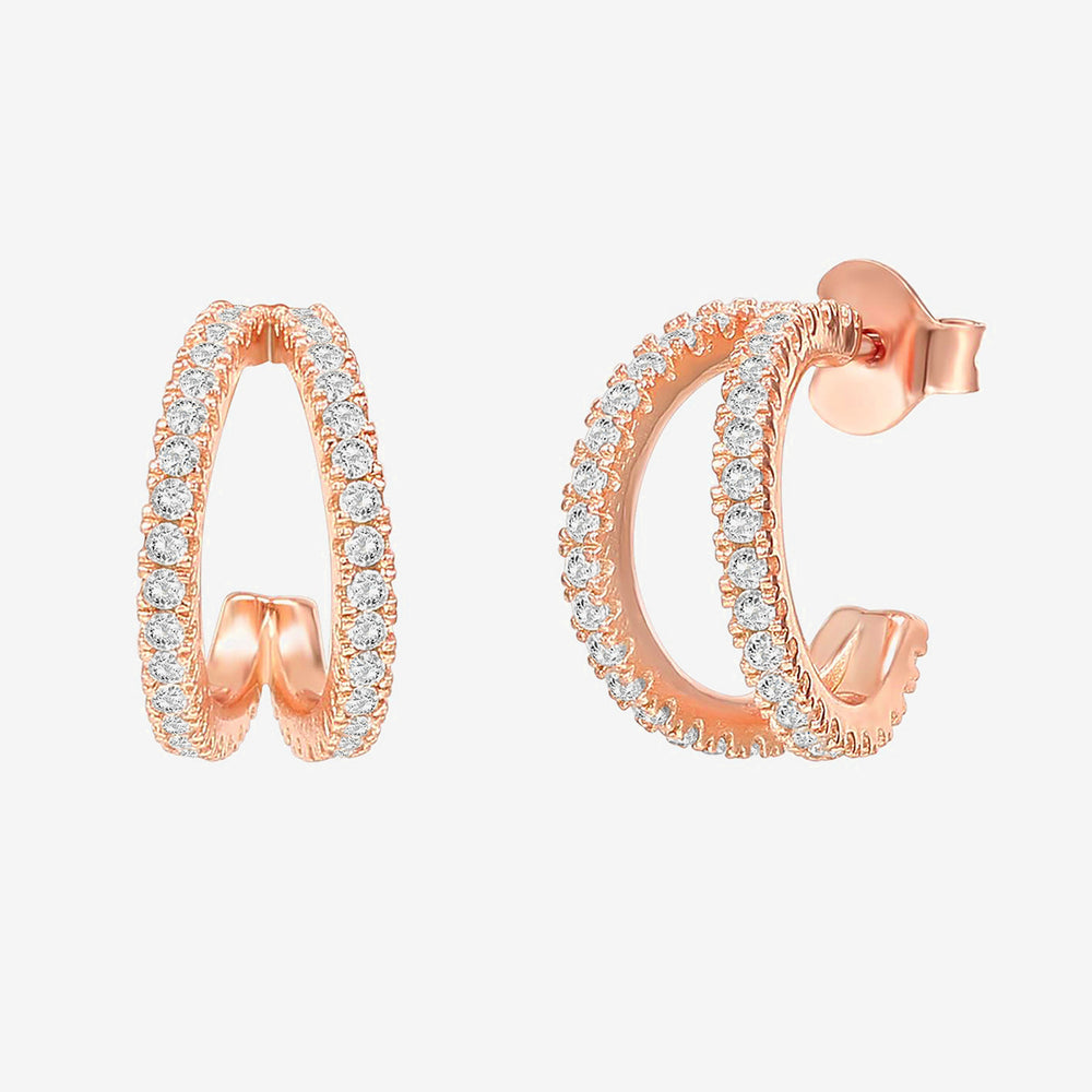 Split Huggies CZ Earrings